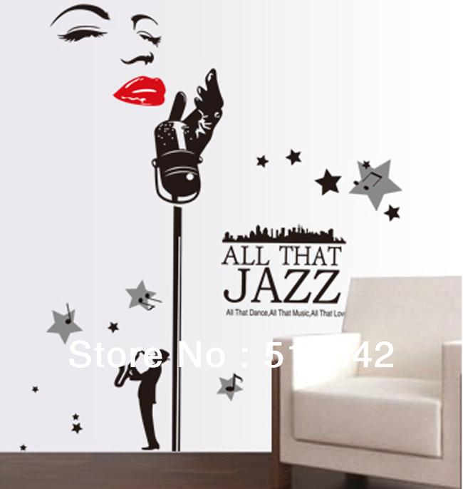 :Marilyn Monroe Jazz Music Black Vinyl Wall Quotes/Removable 3d Wall Decals  Wall Stickers Home Decor Large130*160cm Wall Decoration Stickers Wall ...