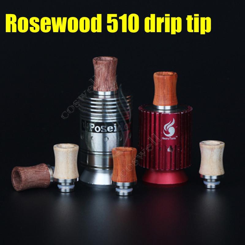 Новый наконечник капельного палисандра 510 Стильные мундштуки из красного дерева Древесный материал из нержавеющей стали, пригодный для Atty vape Mods Распылитель Электронные сигареты