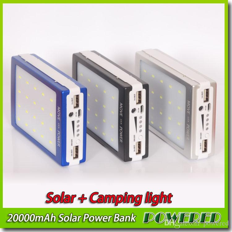 20000mAh 2 USB Port Solar Power Bank Charger Camping light External Backup Battery With Retail Box For iPhone iPad Samsung Free shipping