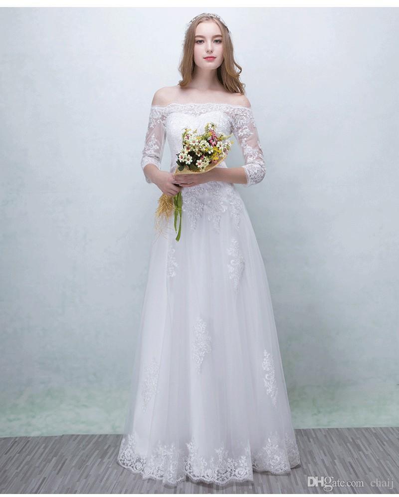 Compre Robe De Mariage Blanco Vintage Vestidos De Novia De Encaje ...