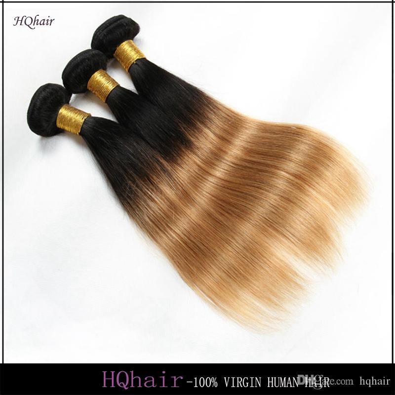 1B/27# Virgin Peruvian Human Hair Bundles Ombre Hair Weaves Silky Straight Remy Hair Weft 6A HQhair