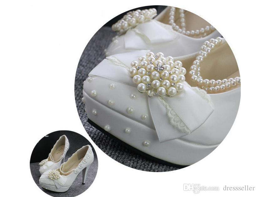 Stock 2018 White Beaded Pearls wedding shoes Round Toe High heel Applique Summer Sandles bridal shoes accessories cheap