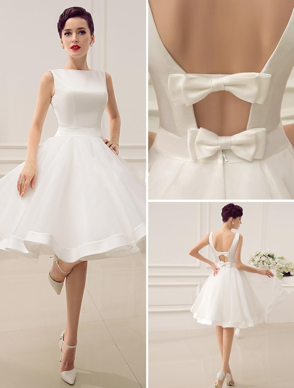 2015 Short Wedding Dresses Vintage Bateau Neckline Deep V Back Little Bridal With Bow Summer Gowns Knee Length Dress Boutique