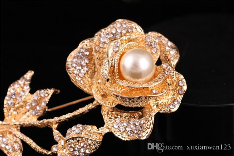 NEW fashion Gold Sliver Flower Rhinestone Crystal Women Wedding Party Jewelry Brooches Pin evan