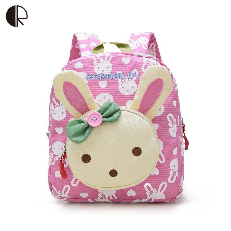 7e26e369136f Lovely Cute Kids School Bags Rabbit Bear Dolls Applique Canvas Backpack  Mini Baby Toddler Book Bag Kindergarten Rucksacks Bp820