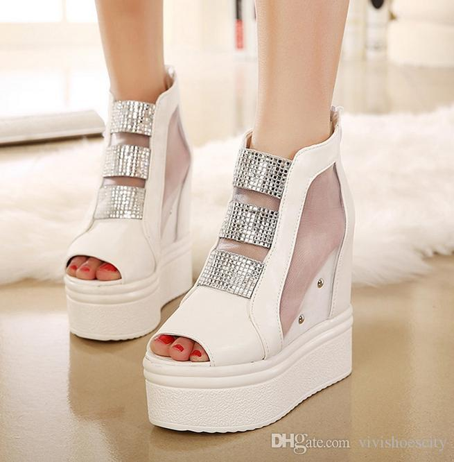 145d51fa9abca Bling Crystal Meshy High Platform Wedge Sandals Fashion Bridal Wedding  Shoes Black White Sandals For Women 12cm Size 34 To 39 Ladies Sandals Girls  Sandals ...