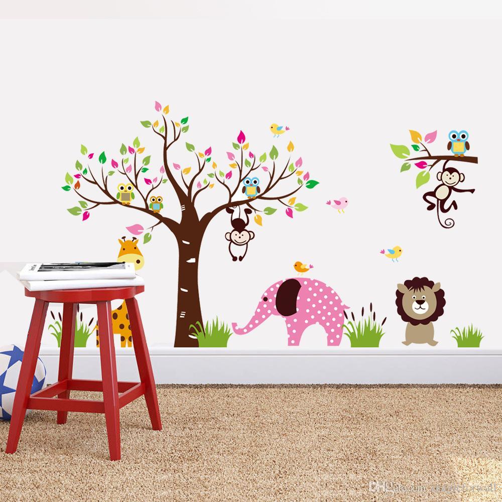 Extra Large Animals Paradise Wall Art Mural Cartel Decoración Parque Infantil Kindergarten Decoración de La Pared Sticker Decal Kids Room Decor