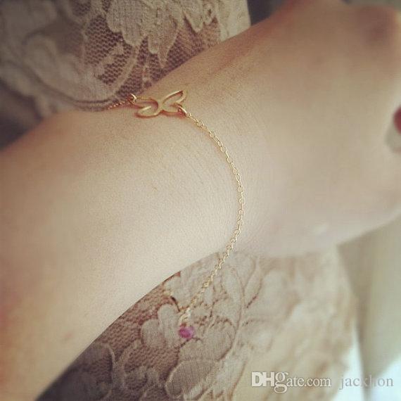 - B034 Cut Outline Womens Butterfly Bracelet Open Butterfly Wing Pendant Bracelets for Women Simple Animal Insect Bracelets