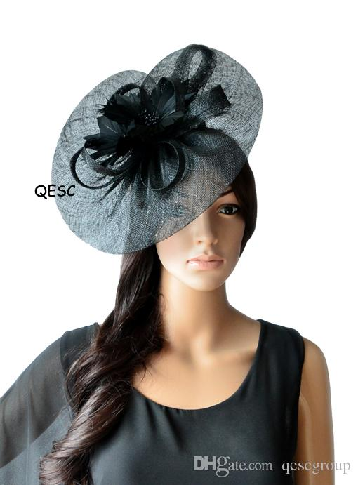 b4aa5806e519d NEW ARRIVAL.Big Sinamay fascinator hat with feather flower for Melbourne  cup,kentucky derby wedding.fuchsia,coral,black