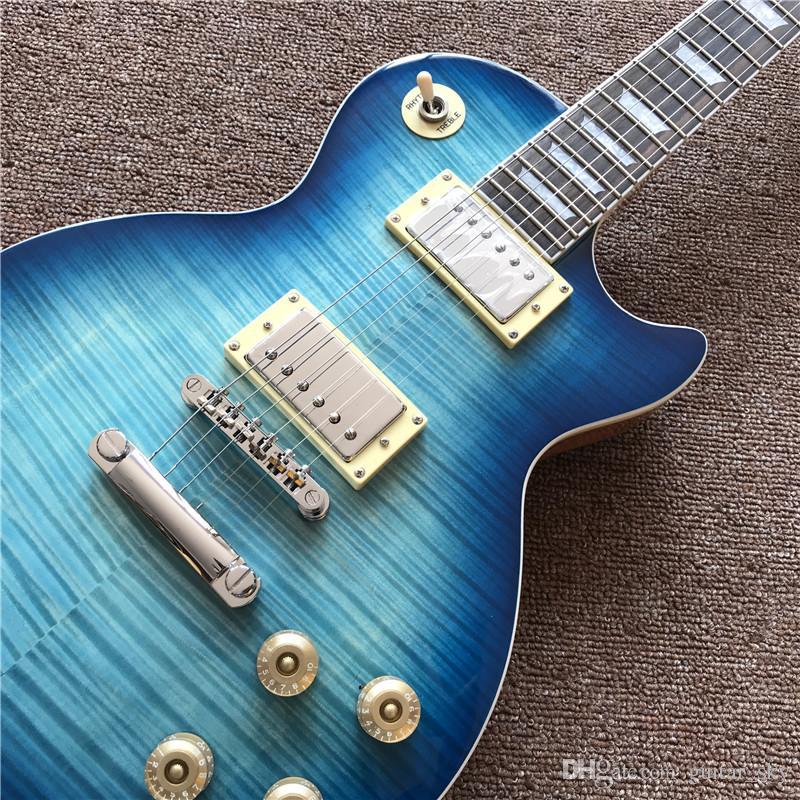 Chitarra elettrica standard di alta qualità in colore blu burst con colore legno naturale di retro, guitarra vendita all'ingrosso caldo