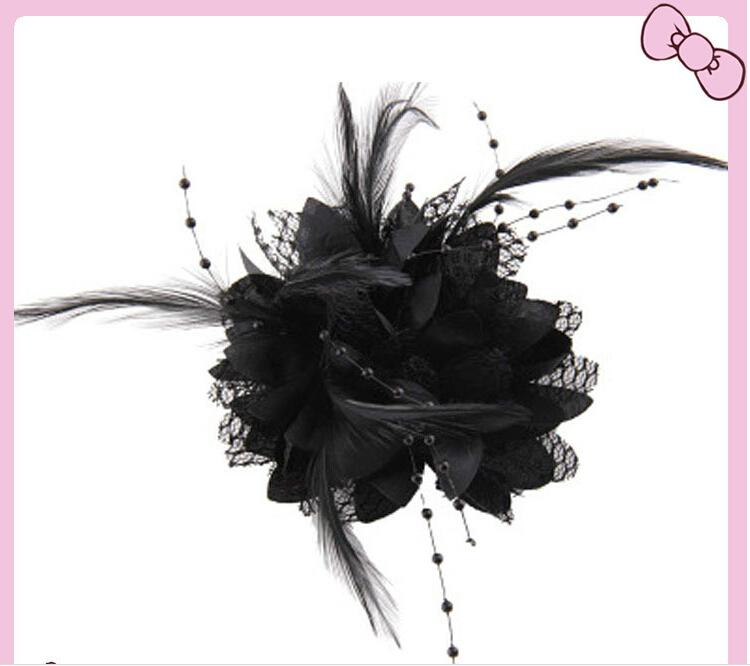 Multi Use Elegant Wedding Supplies Groom Bridal Universal Corsage With Feather Bead String Women Party Wrist Flower and Headdress Jewelry