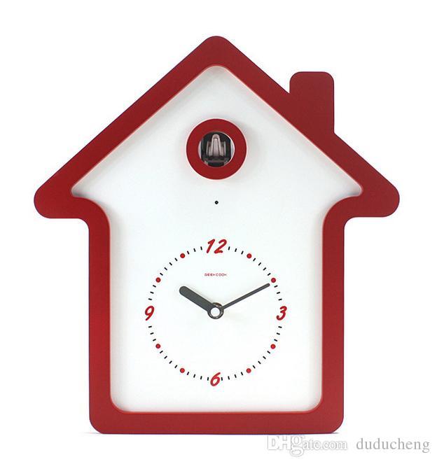 Geekcook Children Cartoon Wall Clock Modern Design Wooden Cuckoo Clock Creative Home Animation ...