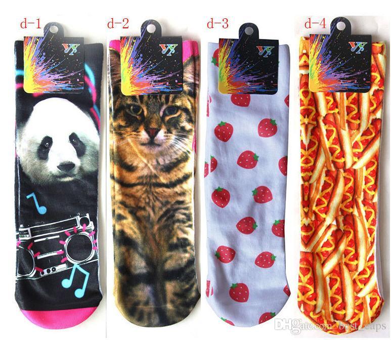 Venta al por mayor Niños de dibujos animados deportes Stocks 100 unids = 50 pares 3D calcetines impresos regalo de Navidad para niños calcetines de algodón suave festival de medias 3D festival