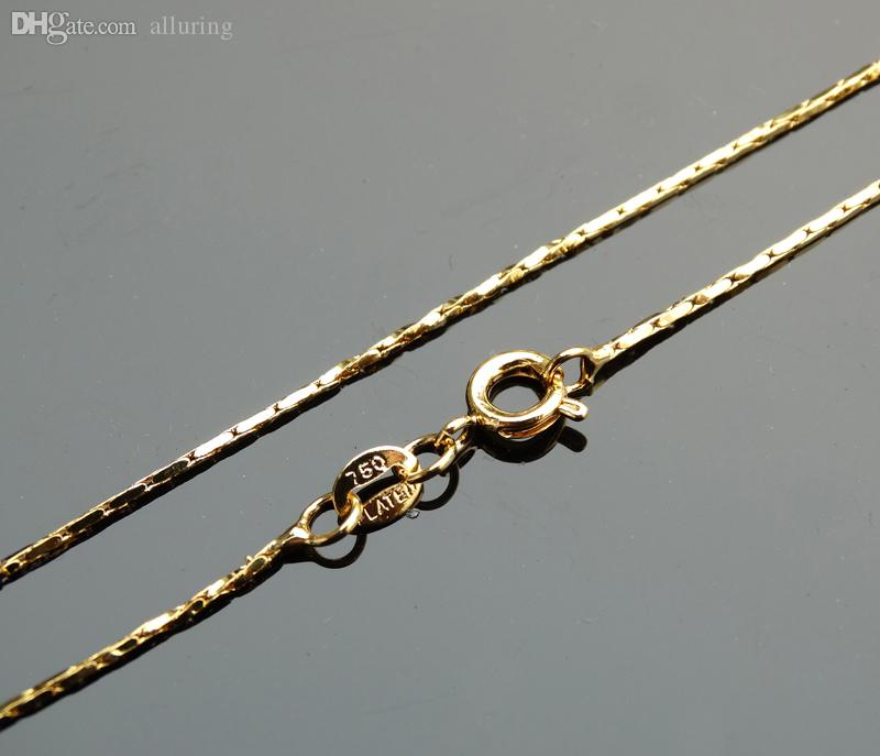 921685ec9f2e Compre Al Por Mayor 18K Collar De Oro 750 Plateada 1mm 16 Pulgadas Cadena  18 Pulgadas Cadena 16 18 La Cadena De Acoplamiento Al Por Mayor Del Collar  De La ...