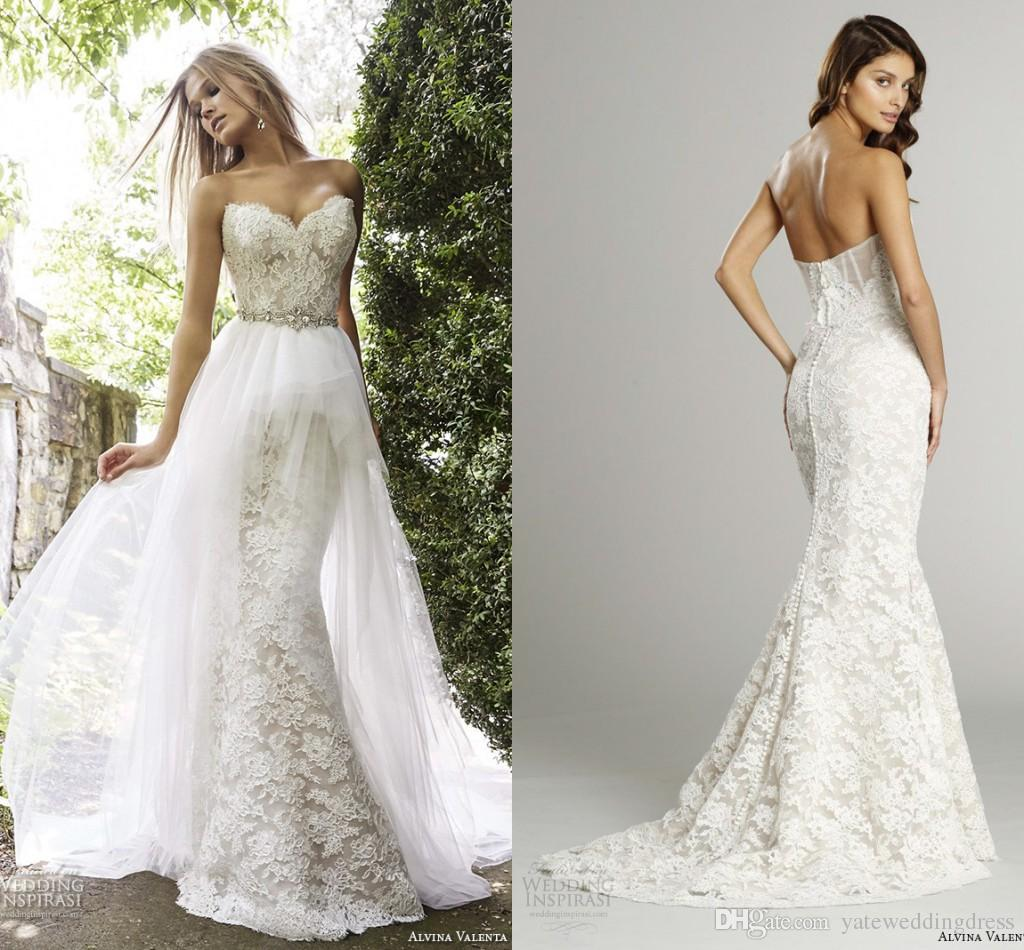 Lace Mermaid Wedding Gown With Tulle Skirt: Two Pieces Mermaid Lace Wedding Dresses 2015 Winter Bridal