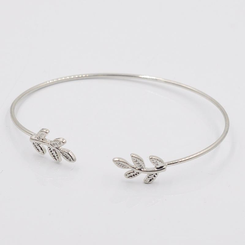 New Bangles 925 sterling silver fine Bracelet Fashion Bracelet Bangles leaf Women leaves Contracted bracelet Alloy smooth Adjustable Bangles