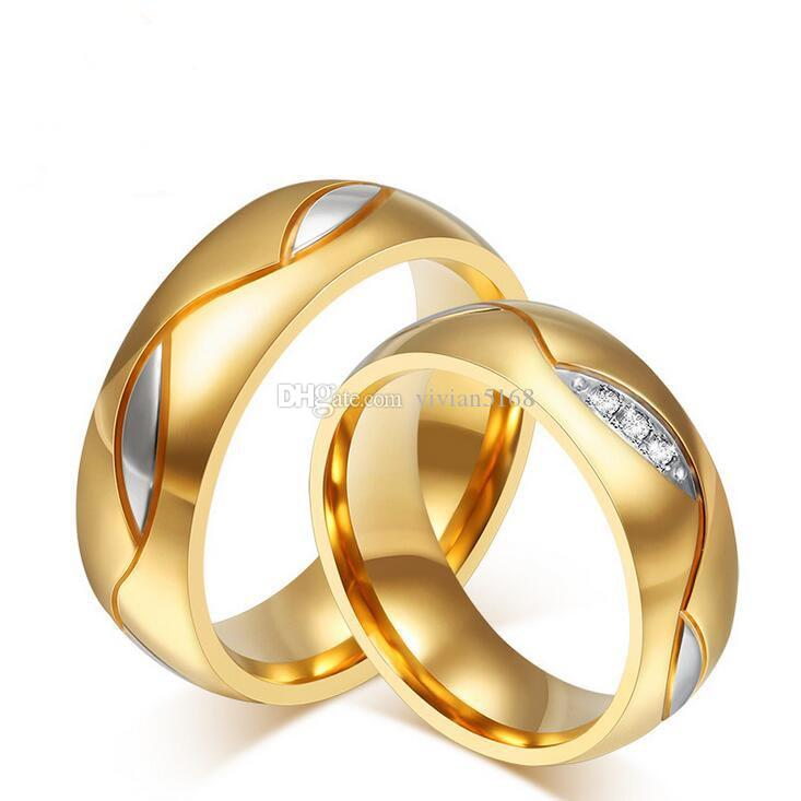 Simple CZ Diamant Amoureux de la Bague en Or 18 carats Plaqué de Titane en Acier Inoxydable Strass Cloutés Anneaux de Mariage de Bijoux / Bijoux Pour Femmes, hommes