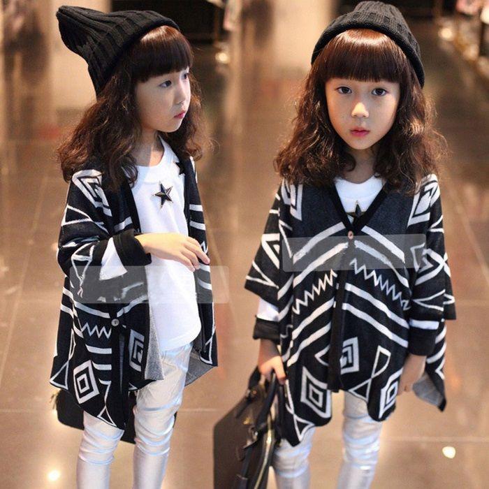d5e67d68dc8 Hug Me Girls Knitting Shawl Kids Clothing 2017 Spring Long sleeve Fashion  Geometric Cardigan Jacket EE-637