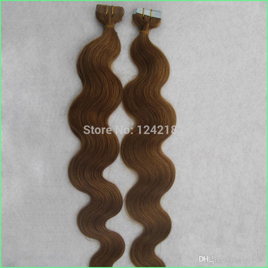Дешевые толстые ленты расширения бесшовные двойной обращается PU кожи утка ленты в человеческих волос расширения тела волна светло-коричневые ленты волос