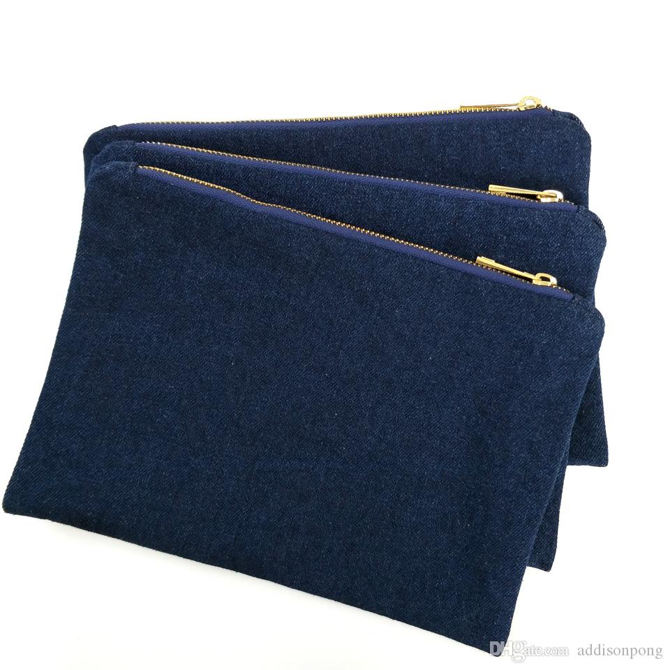 14oz thick denim makeup bag with gold metal zip and true red lining navy blank denim cosmetic bag free ship by DHL directly from factory