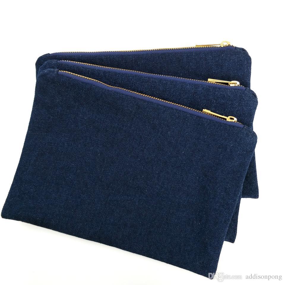 Sacchetto di trucco in denim spesso 14oz con cerniera in metallo dorato e vera borsa il trucco del denim bianco blu scuro in fodera rossa spedita da DHL direttamente dalla fabbrica