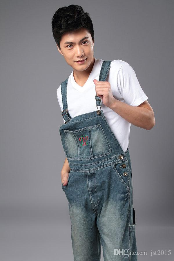 aa074938722 2019 Wholesale Denim Bib Pants Mens Casual Straight Mens One Piece Jeans  With Suspenders Plus Size Denim Overalls Jean Jumpsuit For Men From  Jst2015