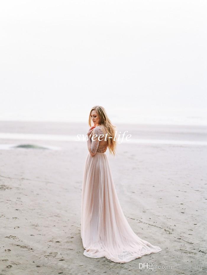 Романтический 2019 летний пляж свадебные платья с половиной рукава старинные кружева пояс Sheer V шеи шифон дешевые Богемии свадебные платья партии