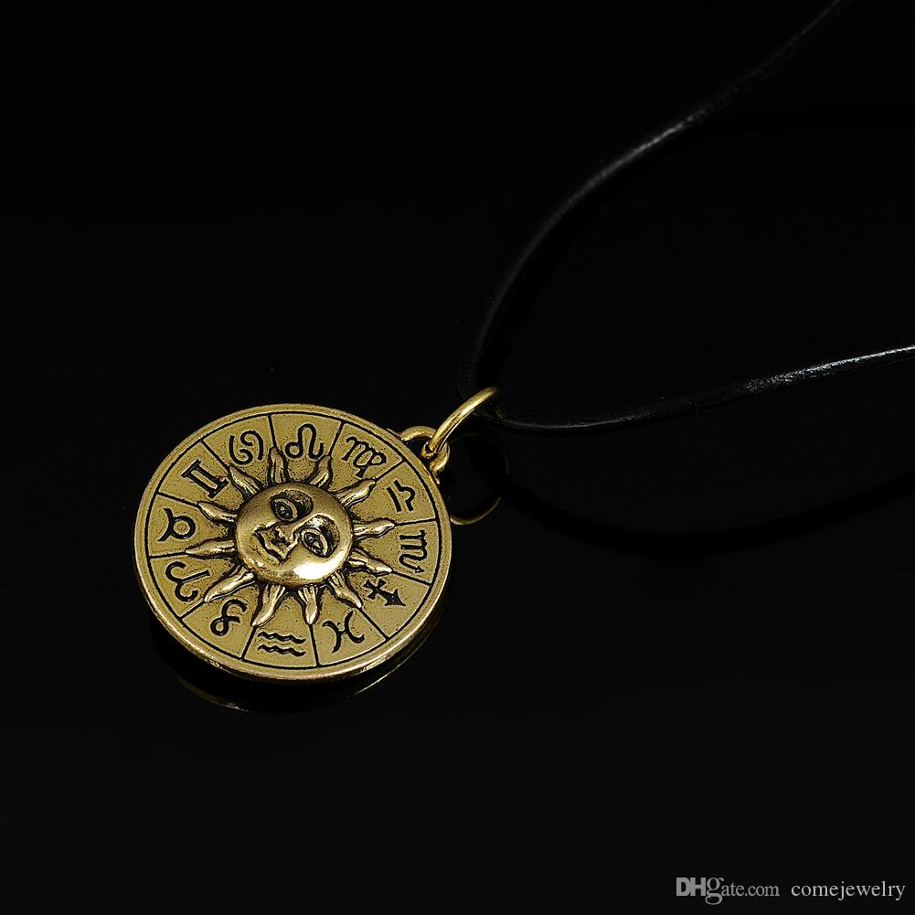 wholesale antique bronze plated vintage round egyptian style pendant sun face sign the gold charm leather chain necklace