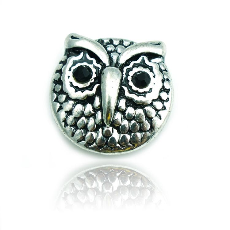 Fashion 18mm Snap Buttons Two Color Retro Owl Metal Clasps Fit DIY Noosa Accessories Jewelry NKA0017