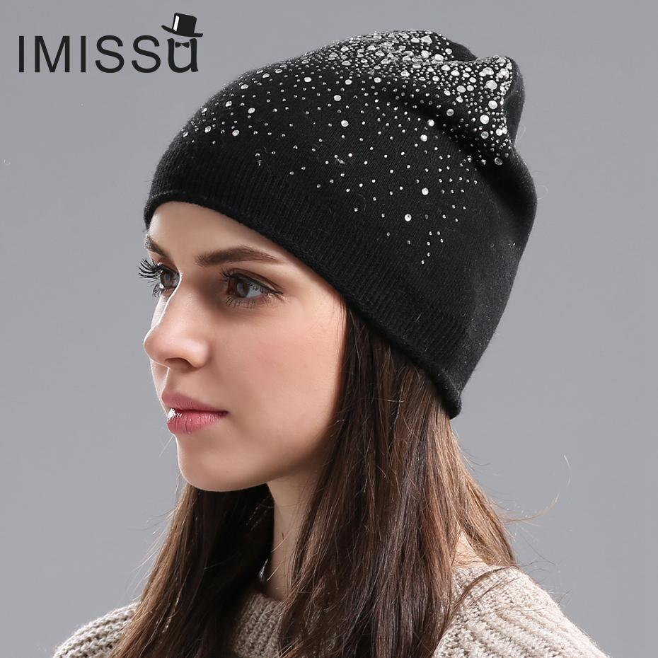 Wholesale IMISSU Winter Women S Winter Hats Knitted Wool Casual Mask Cap  With Crystal Solid Color Ski Gorros Outdoor Hat For Girls Crochet Hats  Headwear ... d172b407de07