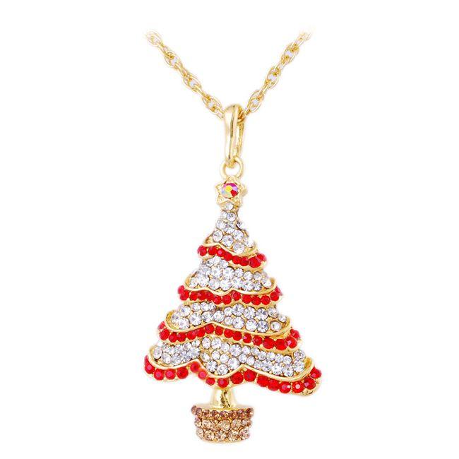 Slide Pendant Necklace Europe & America Style Diamond Christmas Tree Creative Personality Necklace 70cm Christmas Gift Sweater Decoration Ac