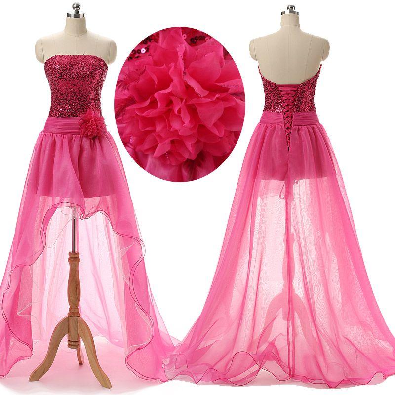 Compre 2016 Fuchsia Hi Lo Prom Vestidos Con Lentejuelas Sexy ...