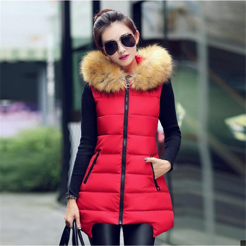 Latest Women Winter Vest Coat Big yards Slim Hooded Heavy hair collar Female students Eiderdown cotton Vest Coat BN004