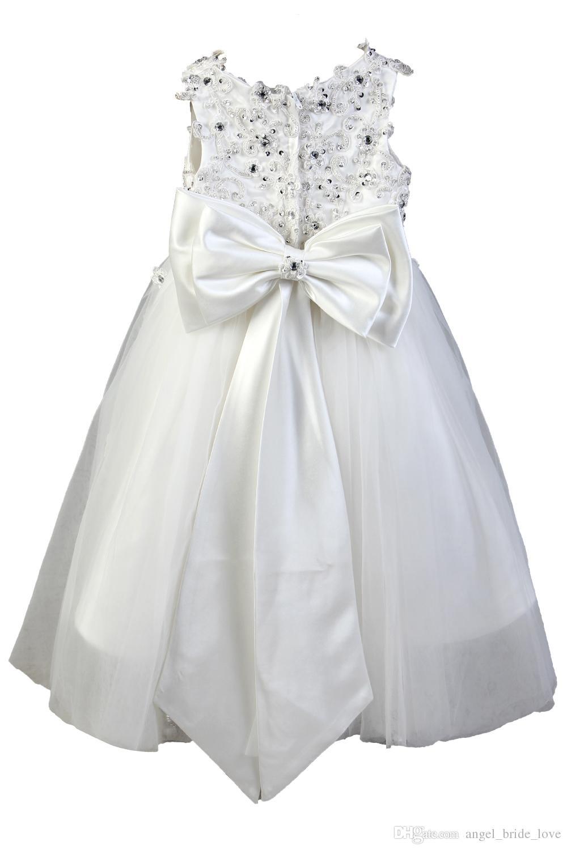 2016 Güzel Dantel Çiçek Kız Elbise Balo Kız Pageant Elbise Çocuklar Tül Bow Kat Uzunluk Communion Düğün Parti Kıyafeti