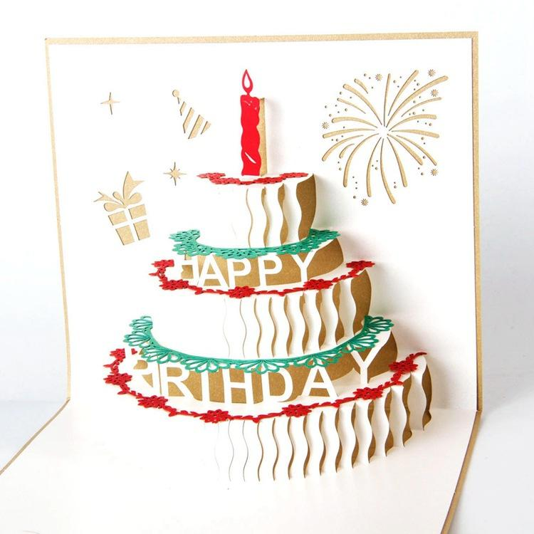 Wholesale Birthday Cake Greeting Card 3d Handmade Xmas Gift