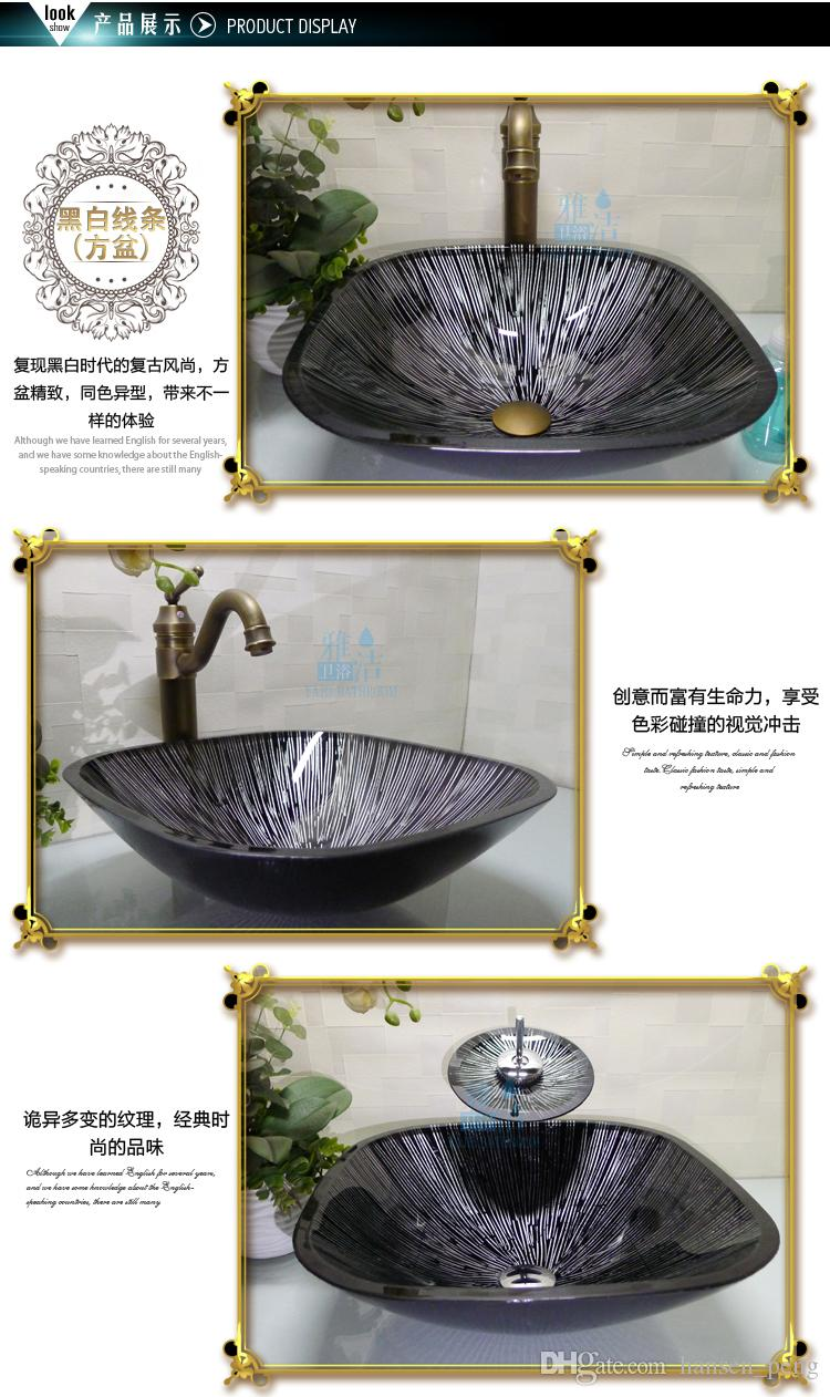Bathroom tempered glass sink handcraft counter top round basin wash basins cloakroom shampoo vessel bowl HX026