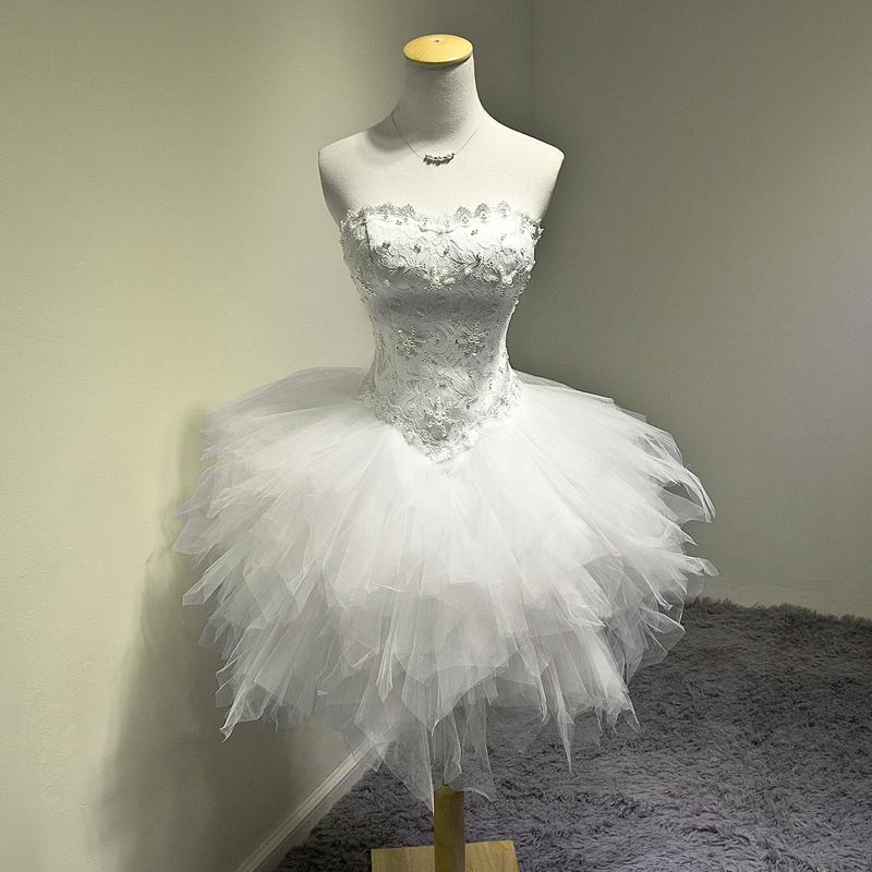 White Fashion Ball Gown Sweetheart Cocktail Dress With Pearls 2018 Short Lace Tulle Party Dress Elegant