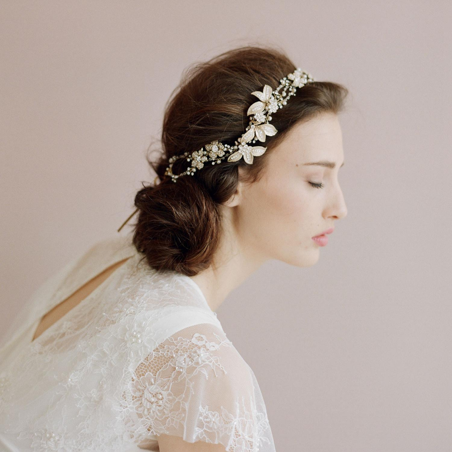 entwined crystal hair vine petals wedding headband bride