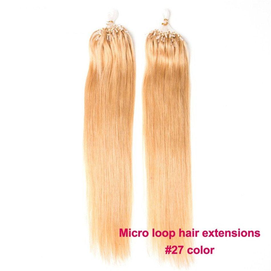 ELIBESS Haar - Micro Loop Ring Haar gerade 0.5g / Strang 200s nicht Remy brasilianische Menschenhaarverlängerungen # 1B # 2 # 4 # 27 # 613