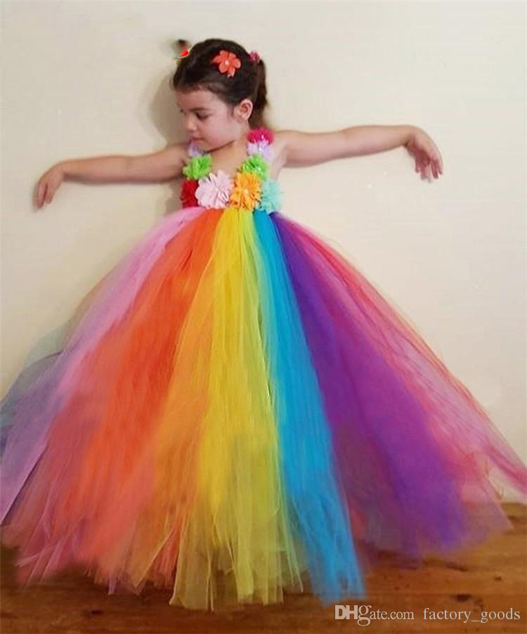 Girls Rainbow Dresses Lace Tulle Princess Dress Dance Tutu Suspender Skirt Kids Christmas Birthday Party Clothing Free DHL 554