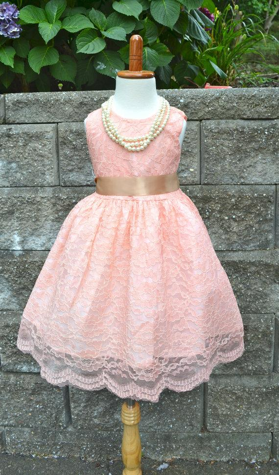68373468670 Blush Pink Coral Lace Flower Girl Dress