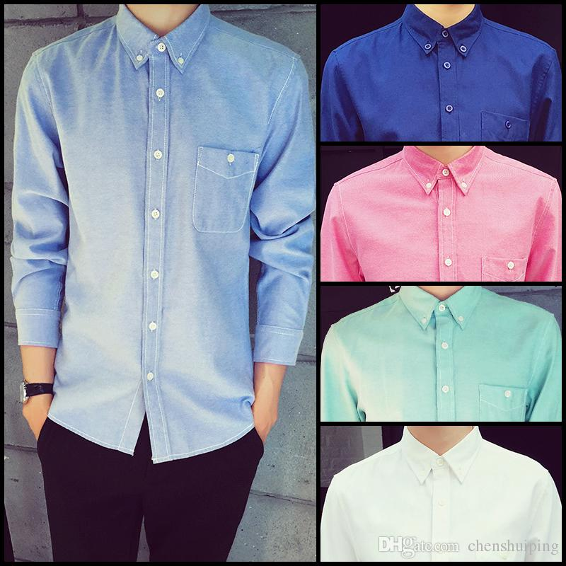 2019 Men Oxford Casual Shirts 2015 New Slim Fit Long Sleeve Brand
