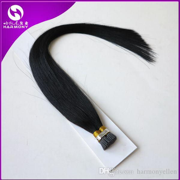 "Pre bonded Keratin Stick Tip Hair / I Tip Human Hair Extensions 50strands/pack 1g/strand 20"" Black Brown Blonde"