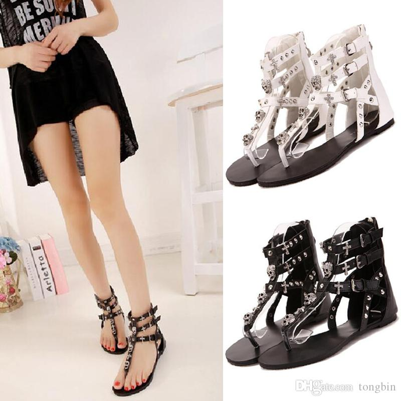 b8a9e2b82aa0 2017 Cross Skull Flat Sandals Women Summer Shoes Roman Style Fashion  Sandals Shoes Women Flat Sandals Slippers Flip Flops Nude Wedges Bridal  Shoes From ...