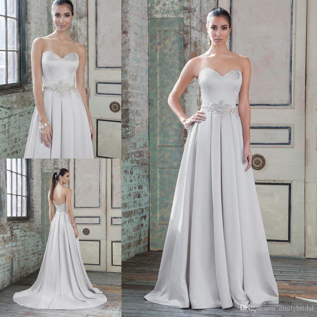 Discount Modest ed Wedding Dresses A Line Sweetheart Luxury Crystals ...