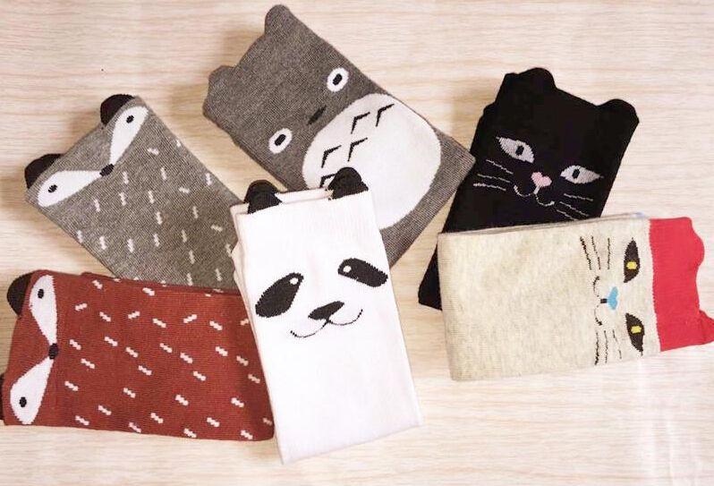 Children cartoon Totoro fox panda Long socks 2015 NEW lovely boy Girls 35cm cartoon socks