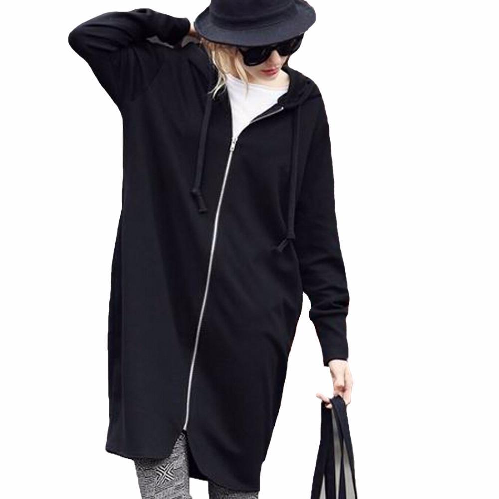 2018 Women'S Loose Hoodied Sweatshirts Zip Up Coat Long Hoodies ...