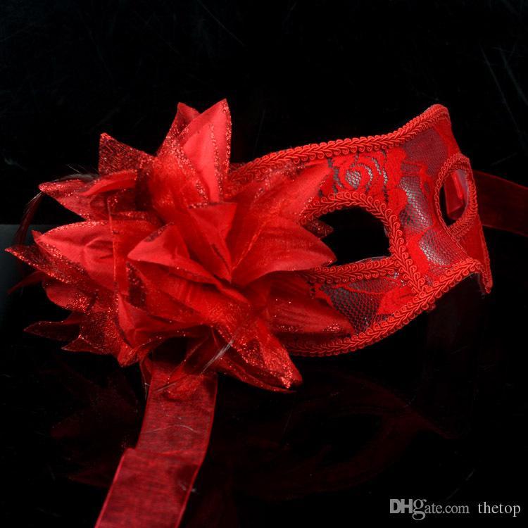 2015 кружева просвечивание цветок маскарадные маски половина лица Черный Красный Белый свадьба Рождество Рождественская Маска 10 шт. / лот высокое качество