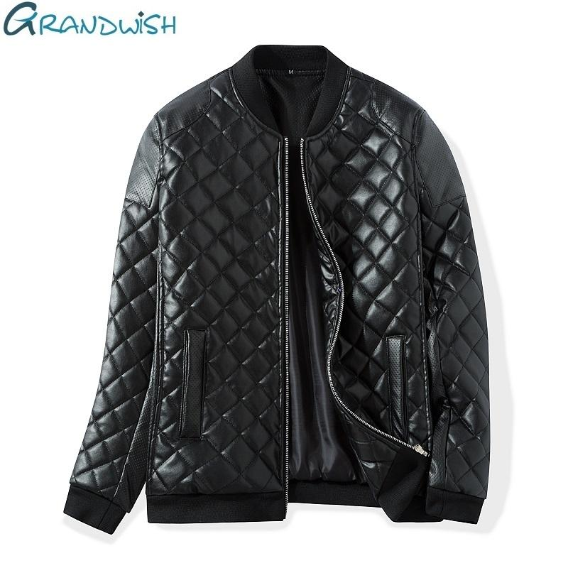 a167b5c50 Wholesale- Grandwish Winter Warm Thick Leather Jacket Men Stand Collar  Padded PU Leather Jacket for Men Men s Jacket Quilt Jacket,DA307