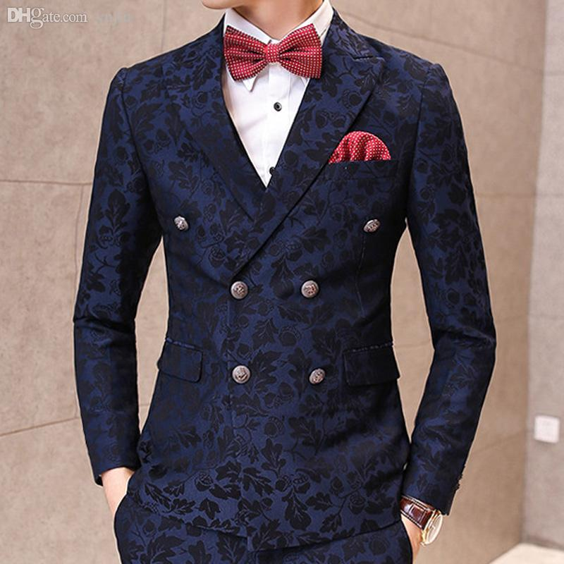 WholesaleMens Korean Stylish Wedding Blazer Black And Navy Color Magnificent Patterned Suit Jacket